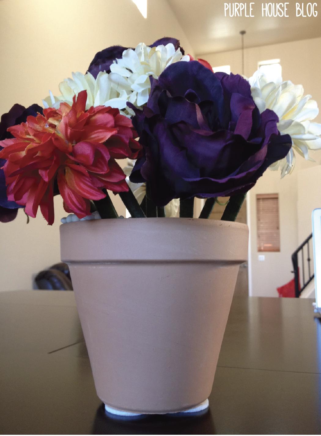 DIY Flower pen bouquet and flower pot | Purple House Blog