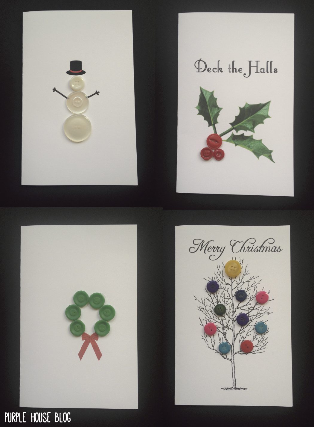 DIY Button Holiday Cards with 8 Free Downloadable Templates