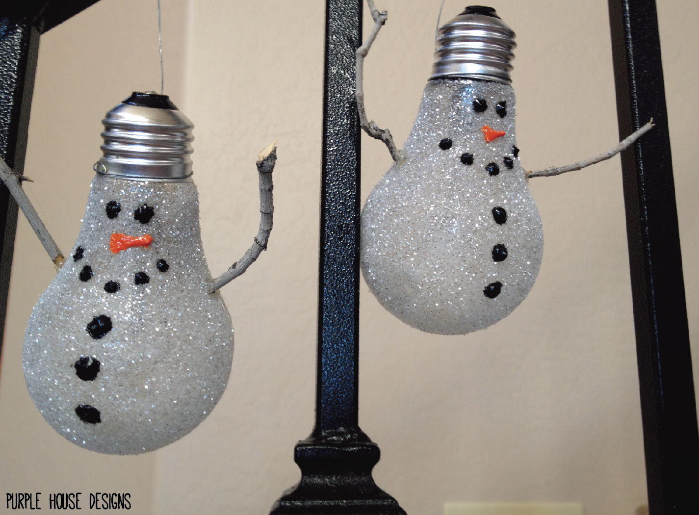 Upcycled diy lightbulb snowman ornament purple house blog